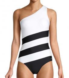 DKNY Black Colorblock One-Piece Swimsuit