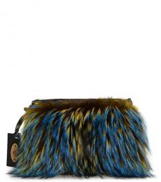 Etro Blue Fur Medium Shoulder Bag
