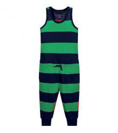 Little Girls Green Striped Jumpsuit