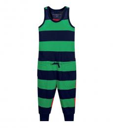 Stella McCartney Little Girls Green Striped Jumpsuit