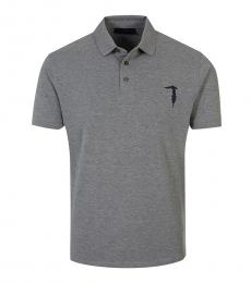 Trussardi Dark Grey Solid Logo Polo