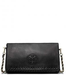 Tory Burch Black Marion Foldover Medium Crossbody