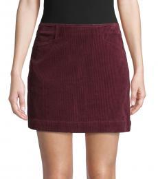 Cherry Rich Carmine Textured Corduroy Skirt