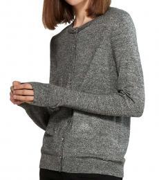Calvin Klein Black-White Marled Hardware Button Cardigan