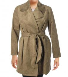 Karl Lagerfeld Olive Faux Suede Midi Coat