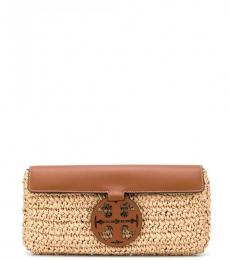 Tory Burch Natural Brown Miller Clutch
