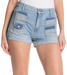 Light Blue High-Rise Multi Pocket Shorts