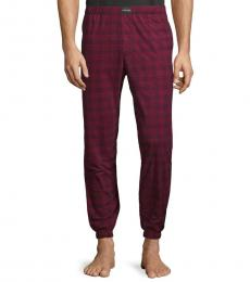 Calvin Klein Red Plaid-Print Pajama Pants