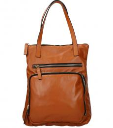 Brown Double Pocket Large Tote