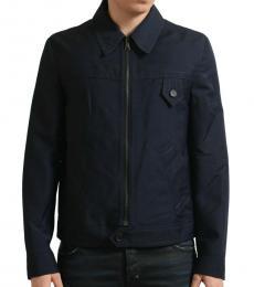 Navy Blue Wool Full Zip Jacket