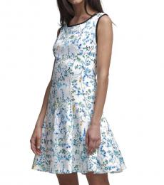 DKNY White Printed Fit & Flare Dress
