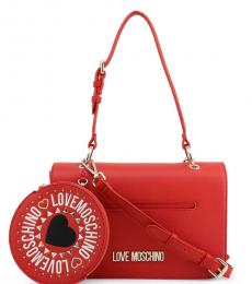 Love Moschino Red Round Pouch Medium Shoulder Bag