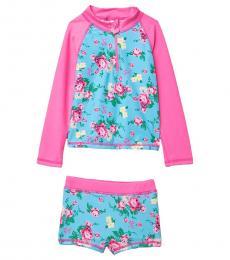 Betsey Johnson Little Girls Floral Rashguard 2-Piece Swimsuit