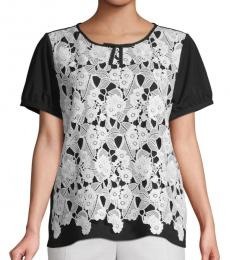 Black White Lace-Trimmed Top