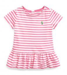 Ralph Lauren Baby Girls Pink Striped Peplum T-Shirt