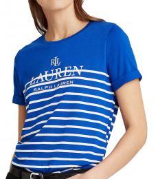 Ralph Lauren Royal Blue Floral Striped Logo Tee