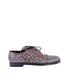 Dolce & Gabbana Bronze Studded Strass Lace Ups