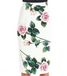 White Allover Print Skirt
