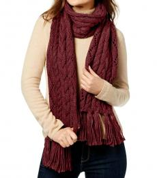 Dark Red Pointelle Cable-Knit Scarf