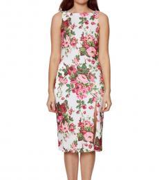 Betsey Johnson White Boatneck Floral Print Dress