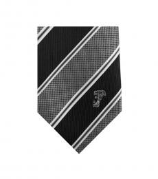 Versace Grey Black Multi-Stripe Tie