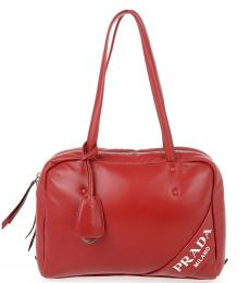 Prada Red Logo Medium Tote