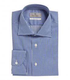 Canali Blue Check Modern Fit Dress Shirt