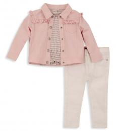 7 For All Mankind 3 Piece Jacket/T-Shirt/Pants Set (Little Girls)