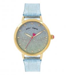 Betsey Johnson Blue Silicone Band Watch