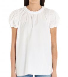 Kenzo White Smock Detail Cotton Top