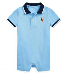 Ralph Lauren Baby Boys Blue Lagoon Mesh Polo Shortall