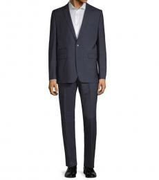 Vince Camuto Navy Blue Windowpane Wool Suit