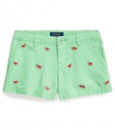 Little Girls New Lime Watermelon Chino Shorts