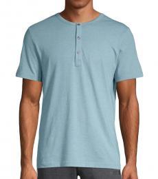 Blue Short-Sleeve Cotton Henley