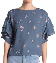 Vince Camuto Blue Floral Tiered Ruffle Sleeve Top