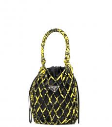 Prada Black Yellow Mesh Net Mini Bucket Bag