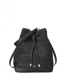 Ralph Lauren Black Crochet Debby Medium Bucket Bag