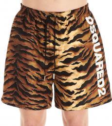 Brown Animal Logo Swim Shorts