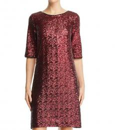 Betsey Johnson Maroon Sequined Mini Party Shift Dress