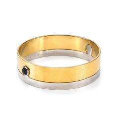 Gold-Silver Keyhole Two Piece Bangle Bracelet