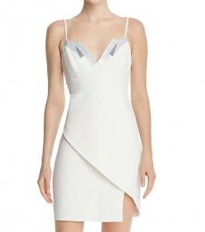 BCBGMaxazria Off White Sequined Banded Party Dress