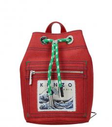 Kenzo Red Momento Collection Small Backpack