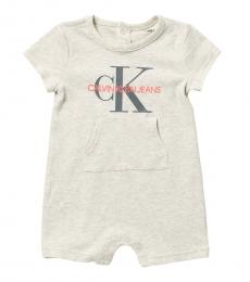 Calvin Klein Baby Boys Off White Logo Romper
