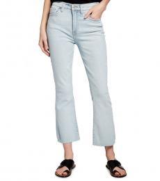 7 For All Mankind Blue High-Waist Slim Kick Cutoff Jeans