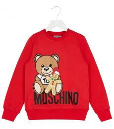 Moschino Little Boys Red Teddy Logo Sweatshirt