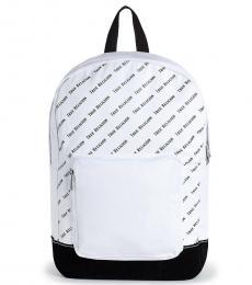 True Religion White Logo Print Large Backpack