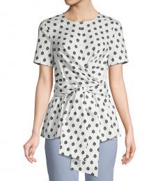 Diane Von Furstenberg Fleur Dot Printed Short-Sleeve Top