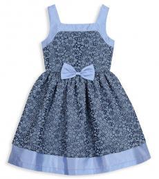 Badgley Mischka Girls Blue Floral-Print Bow Skater Dress
