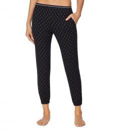 DKNY Black Cropped Knit Jogger Pajama Pants