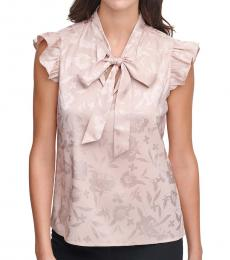 Calvin Klein Blush Jacquard Bow-Neck Top